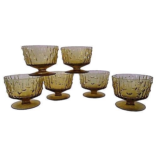 Honey Bamboo Design Sorbet Glasses, S/6