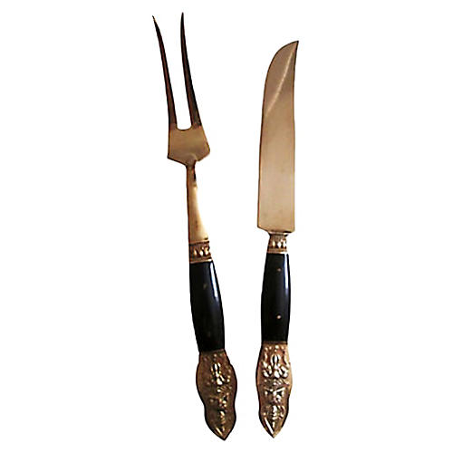 Buffalo Horn & Bronze Carving Set, Pair