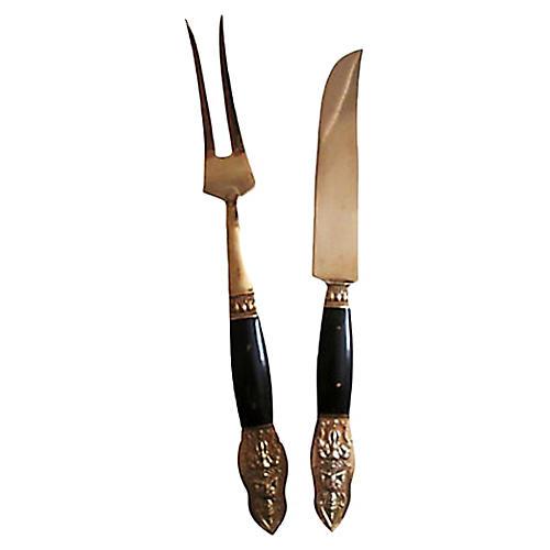 Buffalo Horn & Bronze Carving Set, Pair