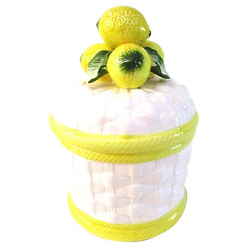 Lemon Basket-Weave Canister