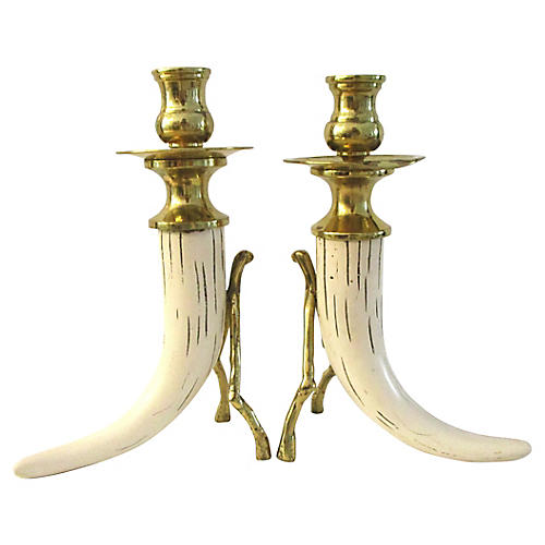 Brass & Faux Horn Candleholders, Pair