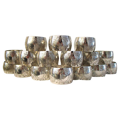 Engraved Silver Napkin Rings, S/16