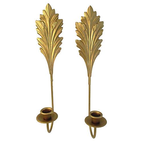 Gold Leaf Design Candelabras, Pair