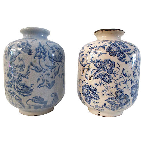 Chinese Floral Pottery Vases, Pair