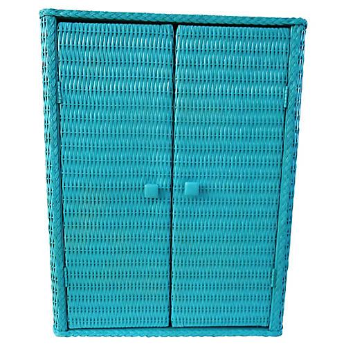 Midcentury Turquoise Wicker Cabinet