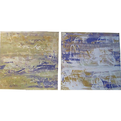 Modern Abstract Paintings, Pair