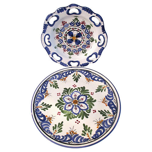 Spanish Pottery Display Plates, S/2