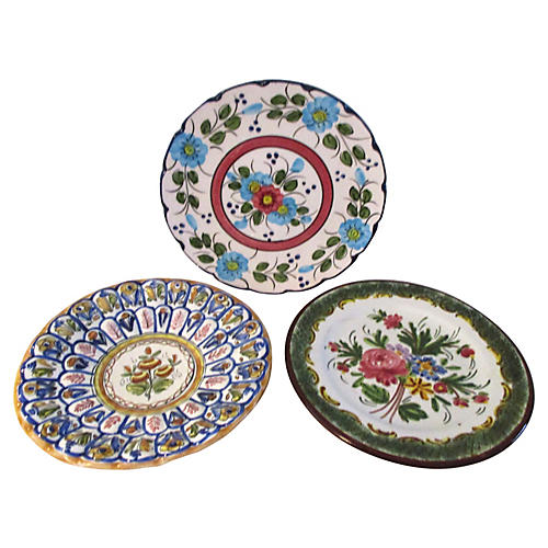 European Pottery Display Plates, S/3
