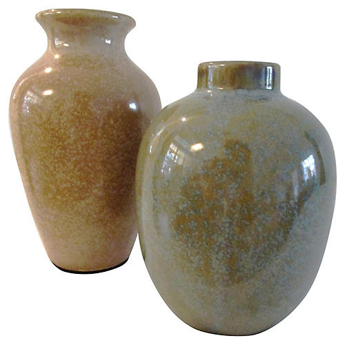 Japanese Earth-Tone Pottery Vases, Pair
