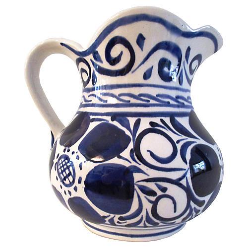 Portuguese Blue & White Pottery Pitcher