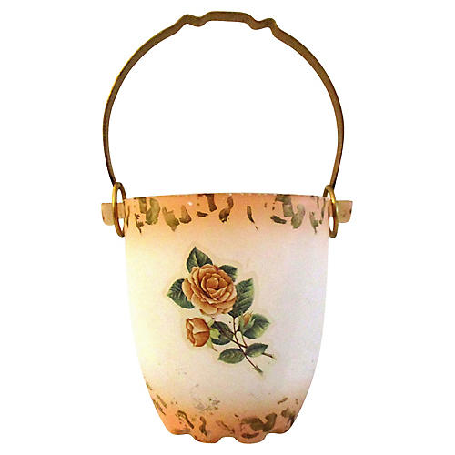 Murano Glass Cottage Rose Ice Bucket