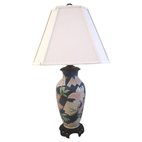 Slate Blue Ceramic Floral Lamp