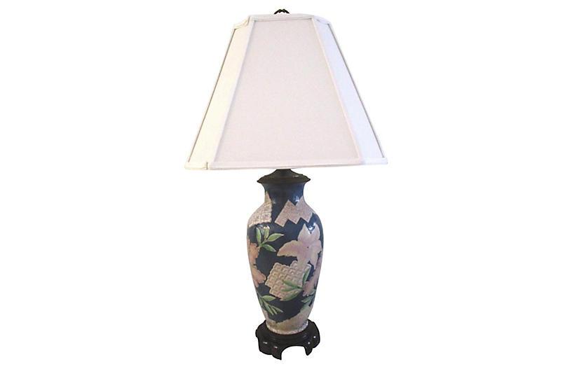 Slate Blue Ceramic Floral Lamp