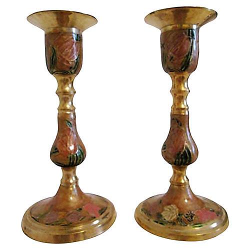 Cloisonné Candleholders, Pair