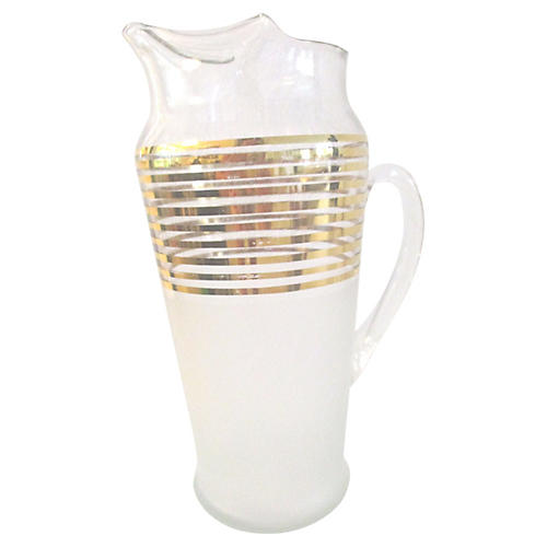 1950s Gold-Banded Glass Cocktail Pitcher