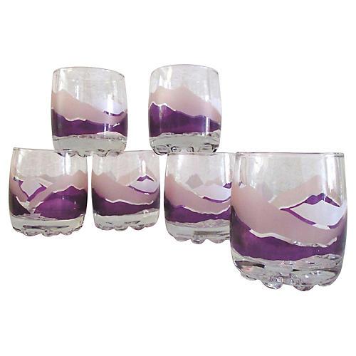 Purple Mountain Lowball Glasses, S/6