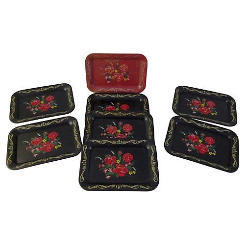 Vintage Rose Metal Appetizer Trays, S/8