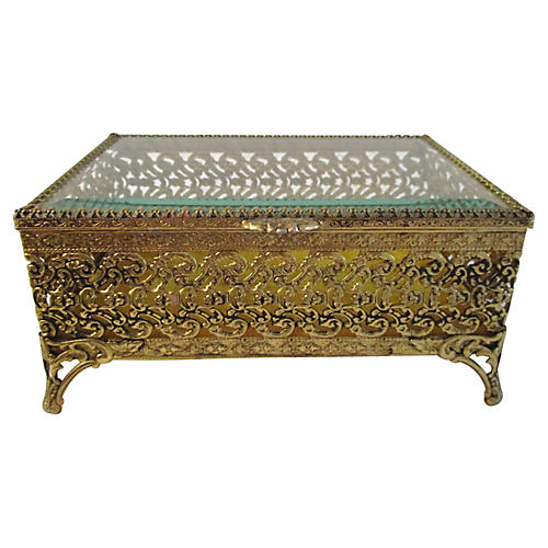 Gold Filigree Beveled Glass Jewel Case