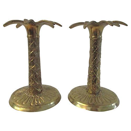 Brass Palm Tree Candleholders, Pair