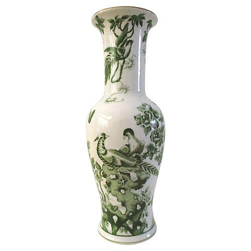 Japanese White & Green Pheasant Vase
