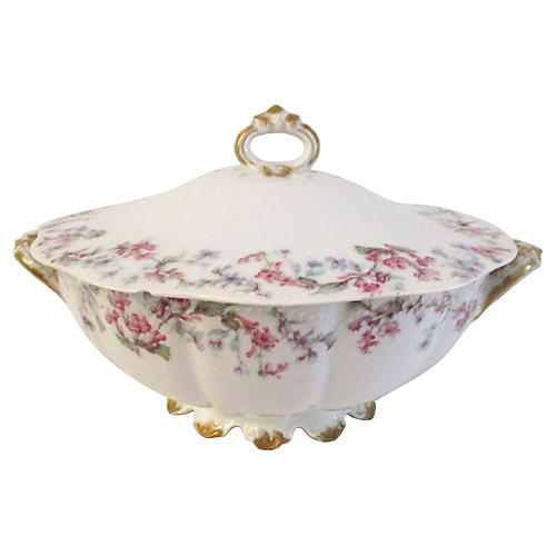 French Limoges Lavender Spray Tureen