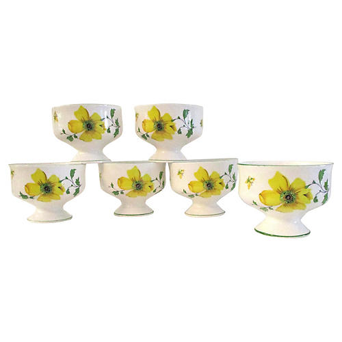 English Yellow Floral Compotes, S/6