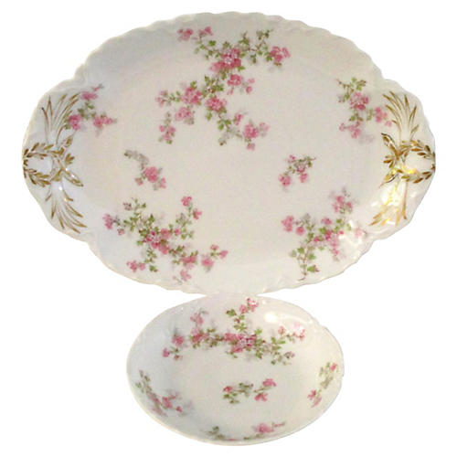 1920s Limoges Floral Serving Set, 2 Pcs