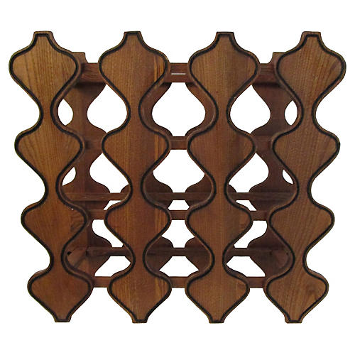1970s Wood Wine Rack