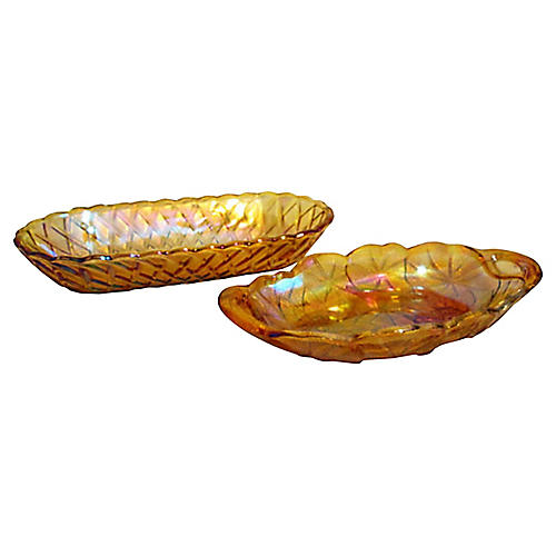 1950s Marigold Serving Dishes, Pair