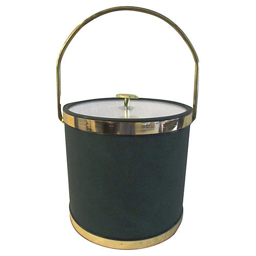 Hunter Green & Gold Ice Bucket