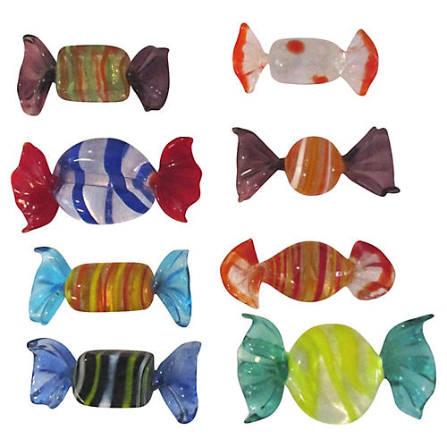 Murano Glass Candy Pieces, S/8