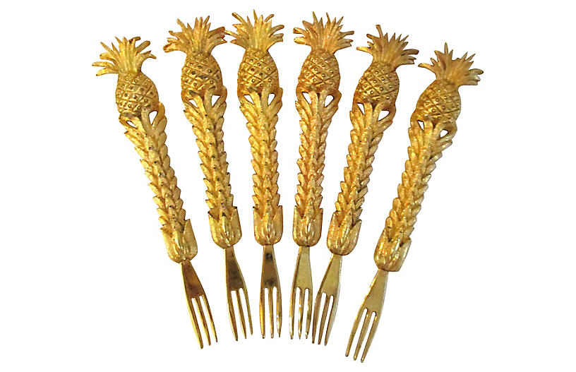 1970s Pineapple Cocktail Forks, S/6