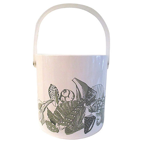 White & Sage Green Seashell Ice Bucket