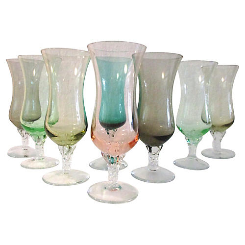 Midcentury Multicolor Wineglasses, S/8