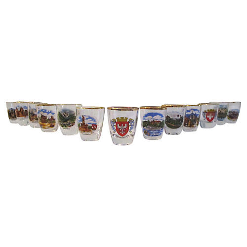 1970s German Scenic Shot Glasses, S/13