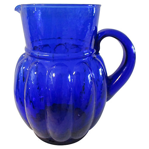 Spanish Cobalt Blue Glass Pitcher
