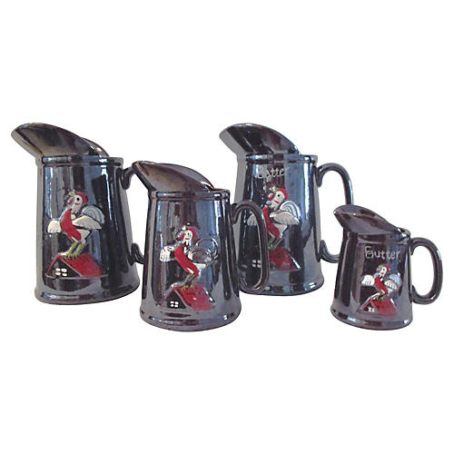 1950s Rooster Breakfast Pitchers, S/4
