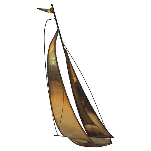 1970s Brass & Copper Sailboat Sculpture
