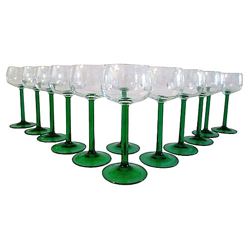French Green-Stemmed Wine Glasses, S/12