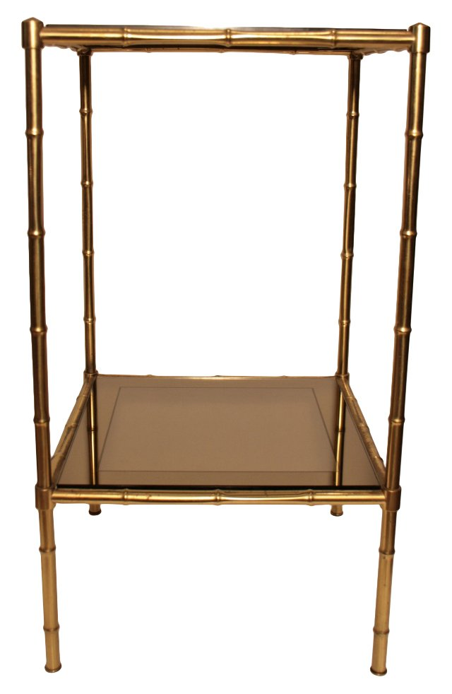 French Brass &  Glass Side Table
