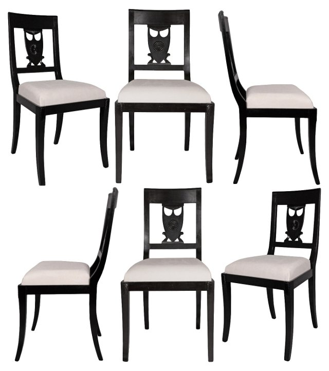 Directoire-Style Dining Chairs, S/6
