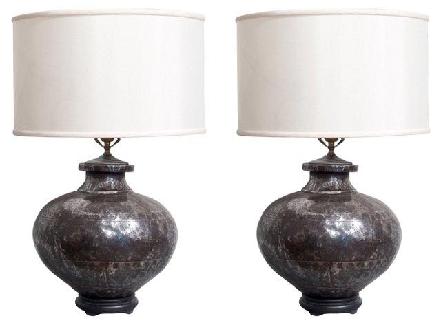 Embossed Pewter Lamps, Pair