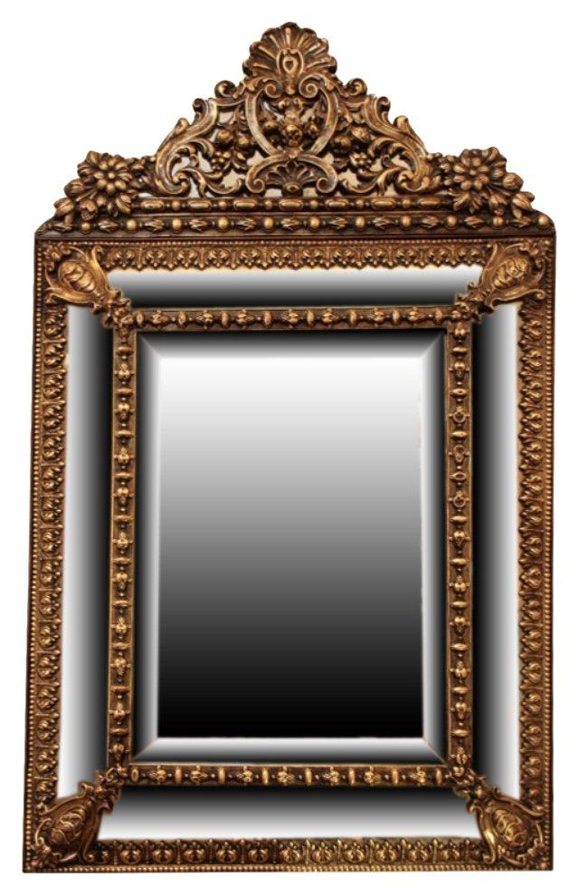 Napoleon III Embossed Brass Mirror