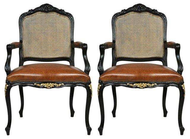 Ebonized & Caned Armchairs, Pair