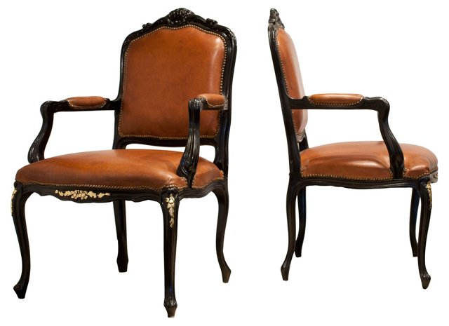 Louis XV-Style Leather Armchairs, Pair