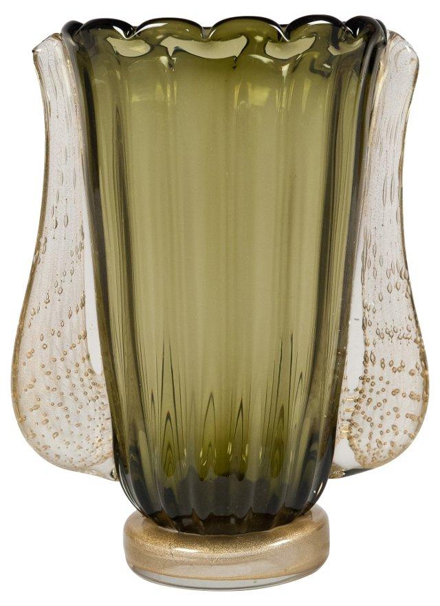 Murano Handblown Avventurina Glass Vase