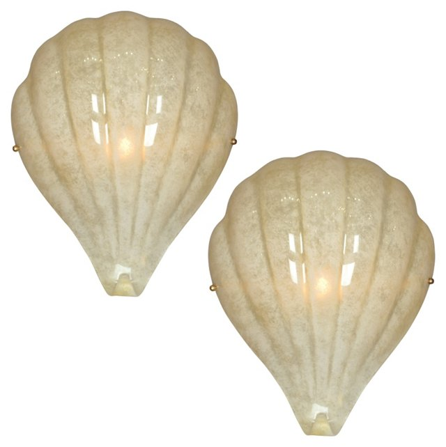Murano Glass Shell Sconces, Pair