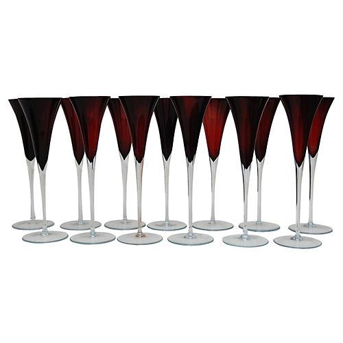 Venetian Champagne Flutes, S/13