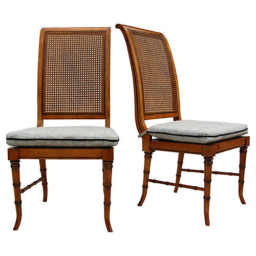 Faux-Bamboo & Cane Chairs, Pair