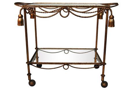Italian Gilt Iron Bar Cart